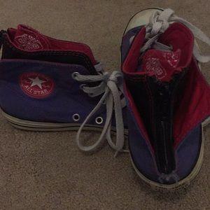 Juniors size 4 Purple zip up converse